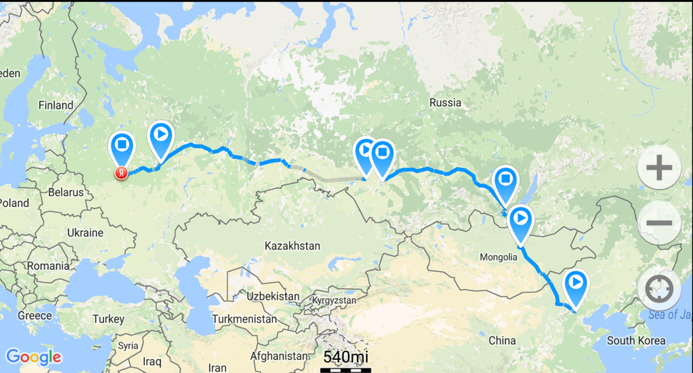 Our route - excluding Moscow to St. Petersburg, as it would not work for some reason.