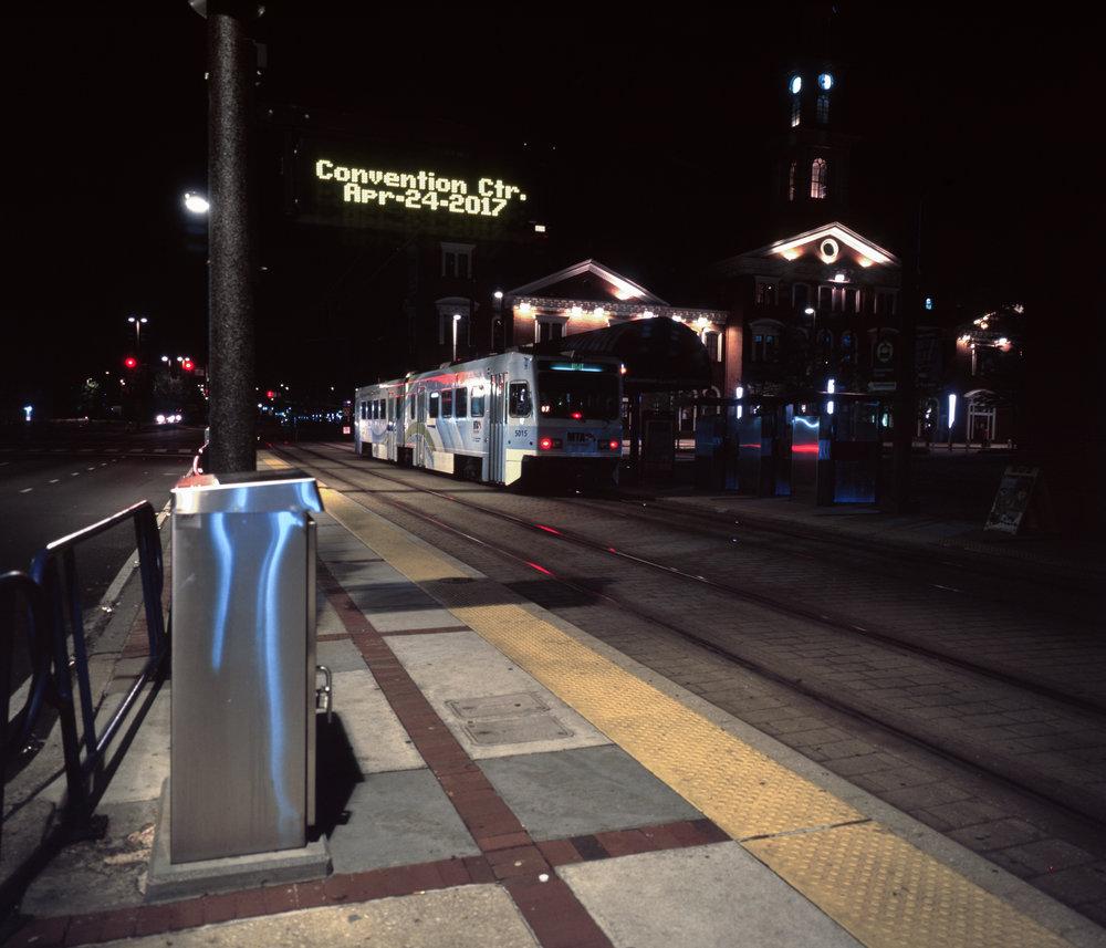 The first train of our trip, light rail to Penn Station Fuji GF670w | Fuji Provia 100f