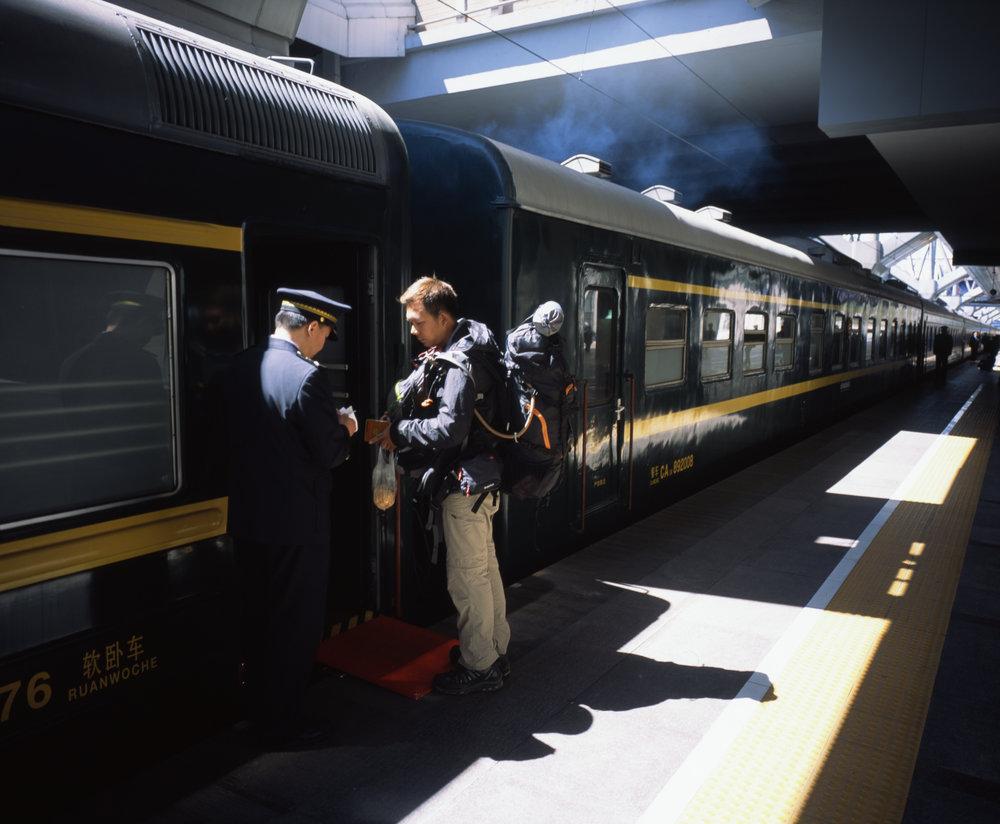 Boarding the train in Beijing Fuji GF670w | Fuji Provia 100f