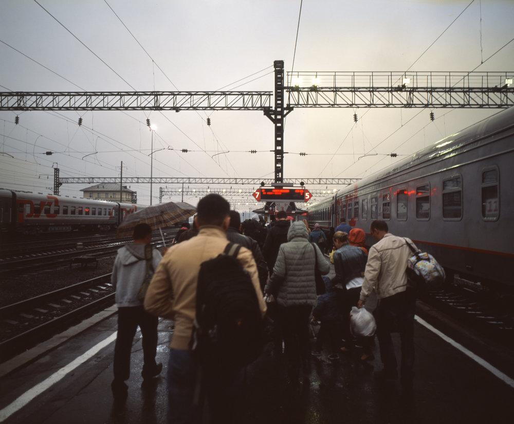 Detraining in Irkutsk in the rain Fuji GF670w | Kodak E100gx