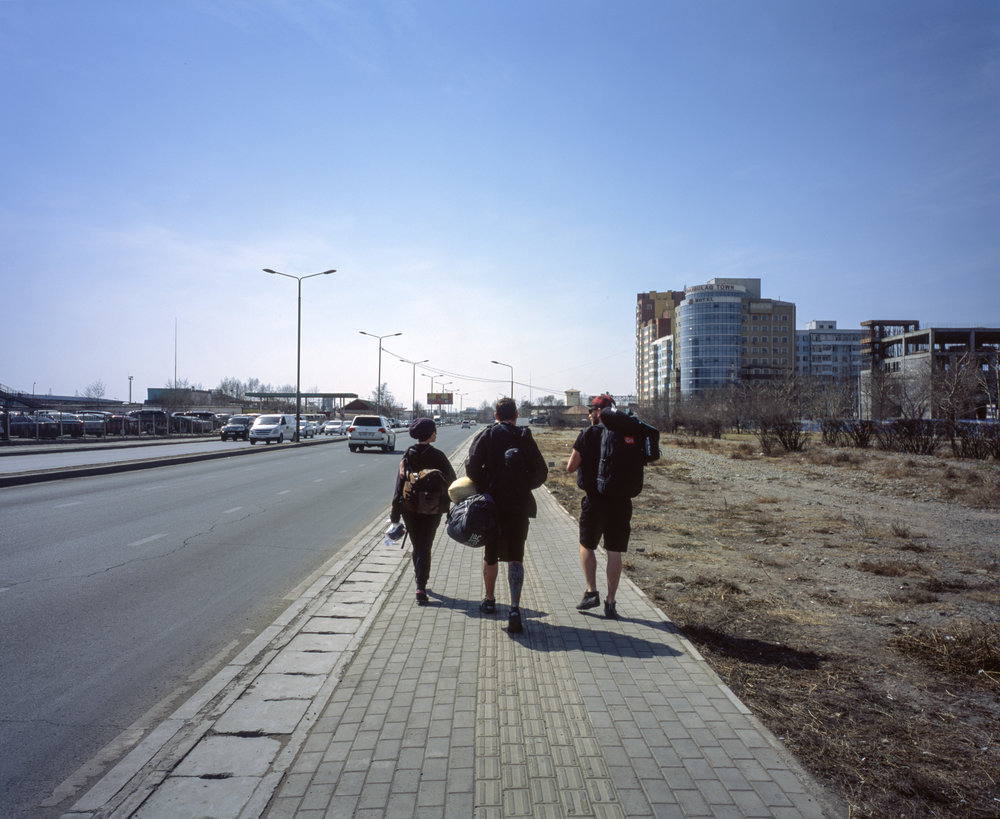 Walking to our hotel Fuji GF670w | Fuji Provia 100f