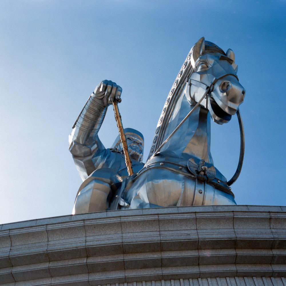 The massive Genghis Kahn Statue Fuji GF670w | Kodak E100gx