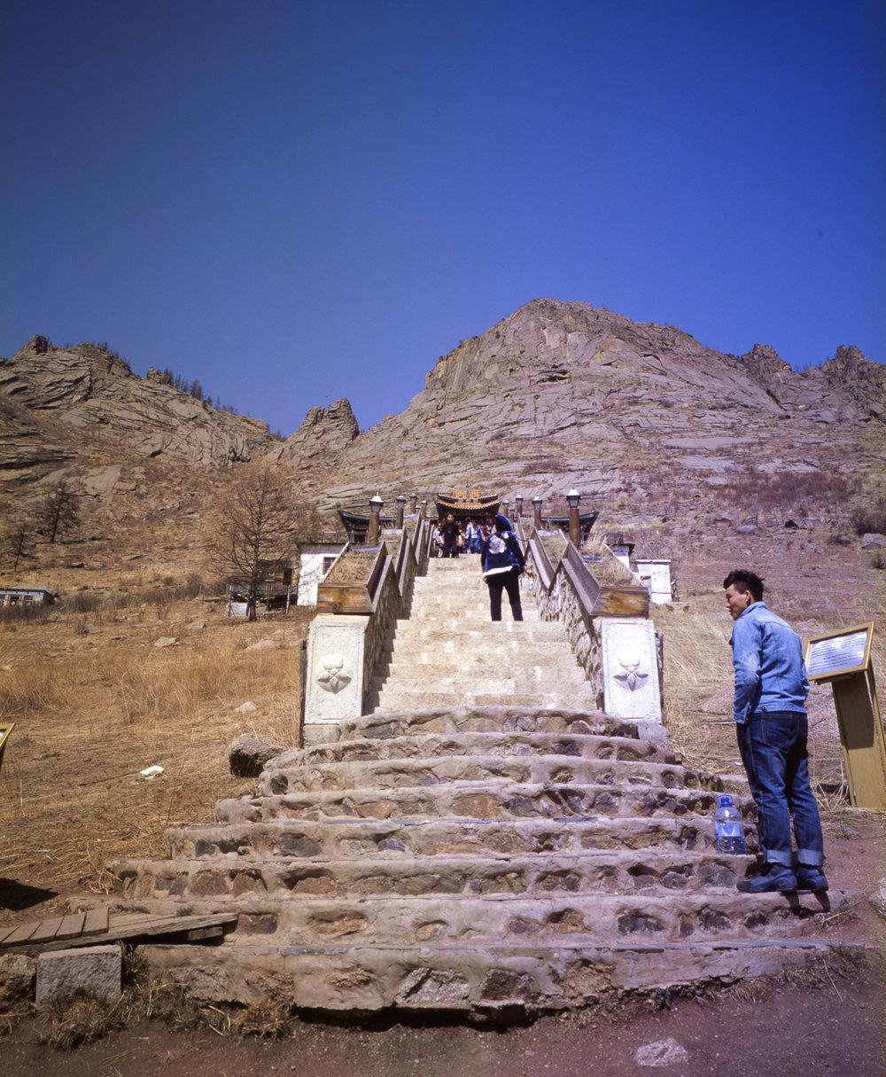 Stairs to the Monestary  Fuji GF670w | Kodak E100gx