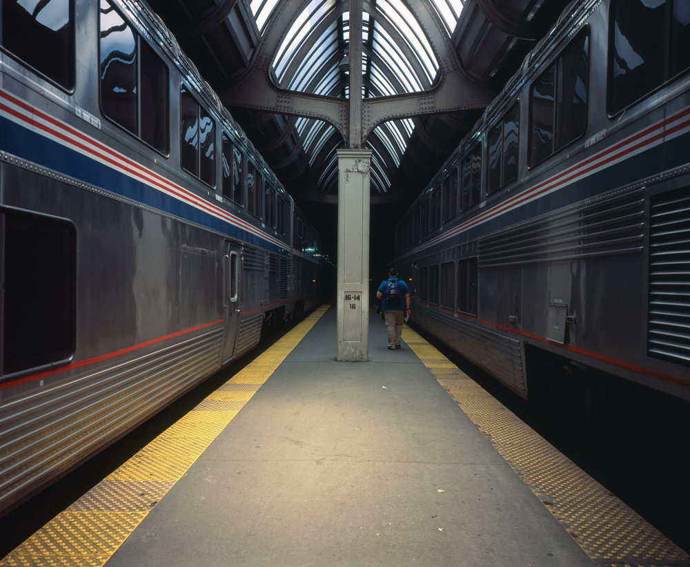 Getting off the Capital Limited in Chicago Fuji GF670w | Fuji Provia 100f