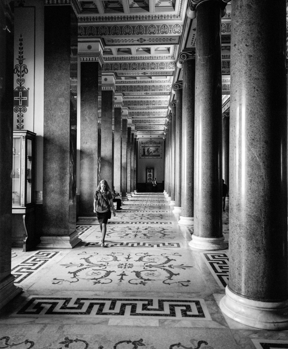 The massive and beautiful halls at the Hermitage Fuji GF670w | Ilford HP5