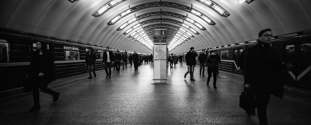 St Petersburg Metro, my last photo of the trip P614 | 58mm Super Angulon | Ilford HP5