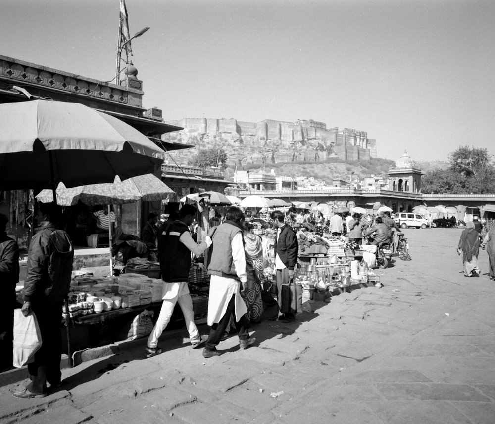 Mehrangarh from some market Fuji GF670w | Ilford HP5