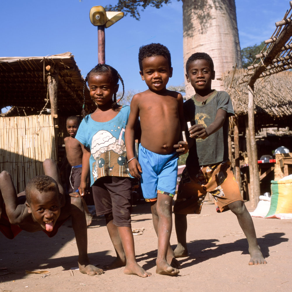 Kids at the Sacred Baobab Fuji GF670w | Fuji provia 100f