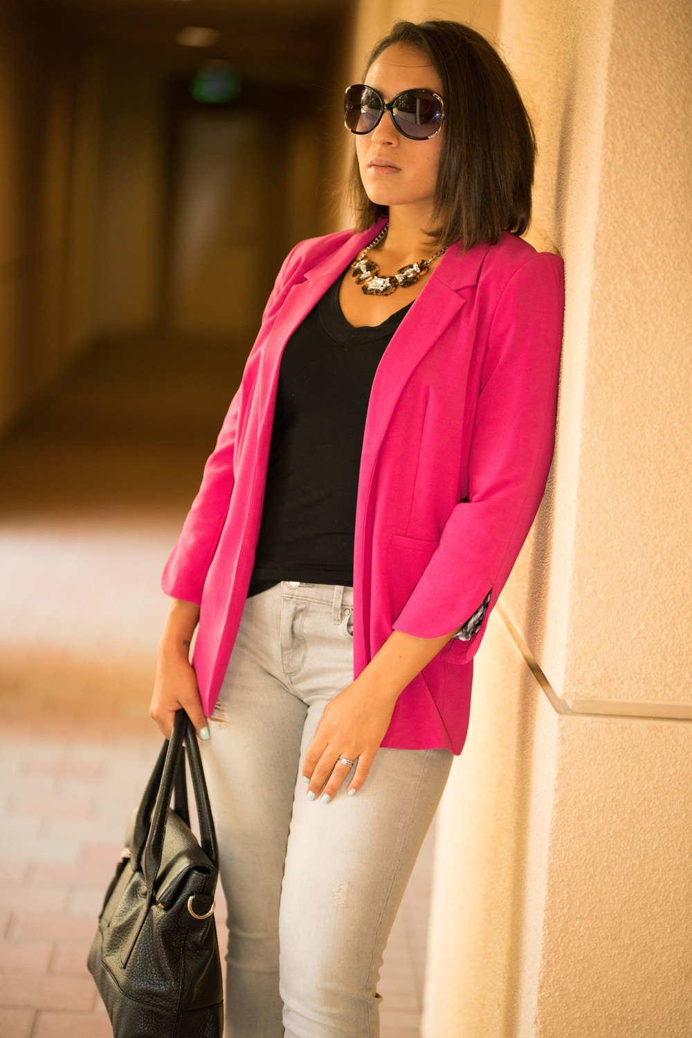 Denim:  Banana Republic  | Necklace: Charming Charlie | Blazer:  Nordstrom  | Purse:  Kate Space   Shoes:  Jimmy Choo