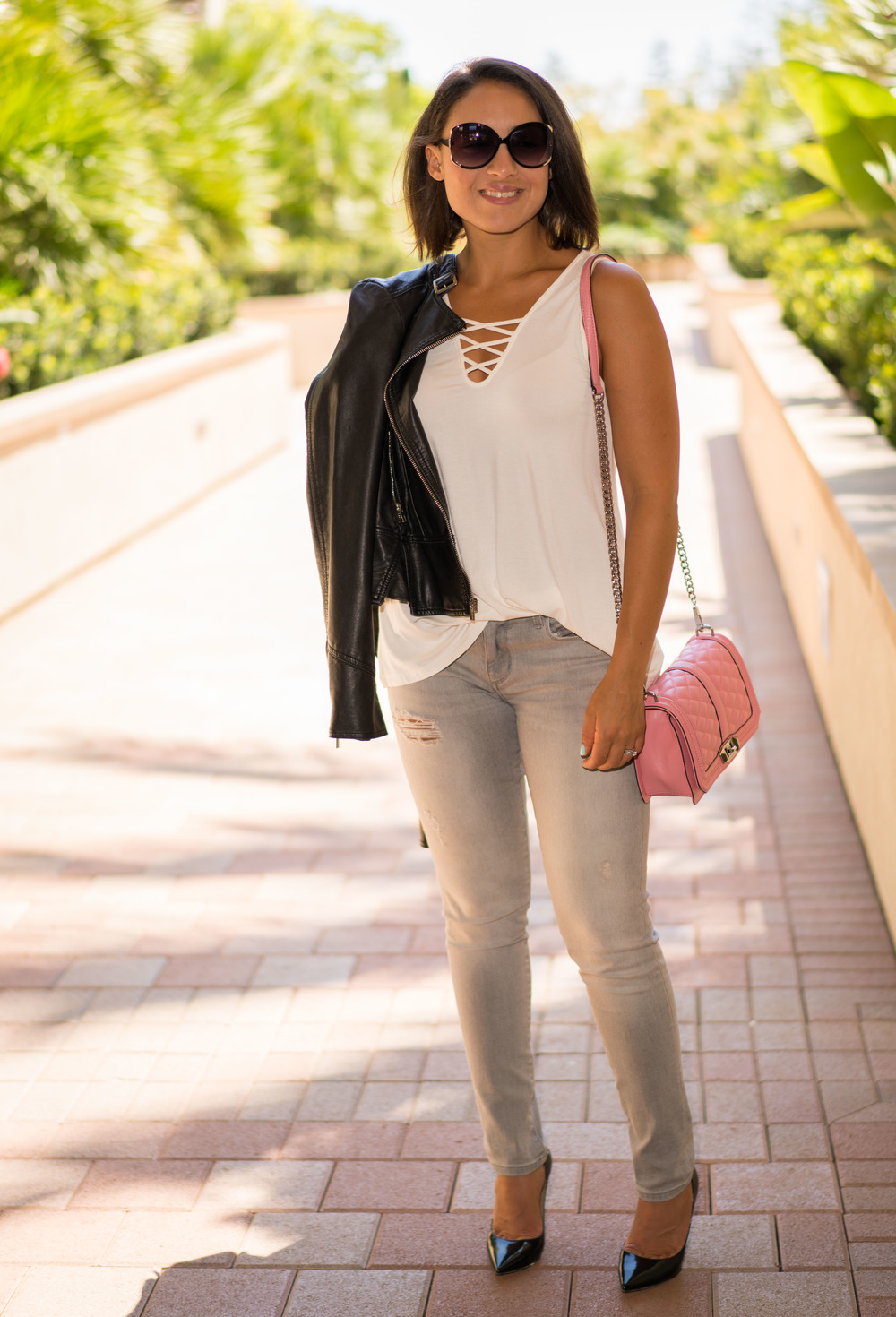 Denim:  Banana Republic  | Tank: Nordstrom | Moto Jacket:  Express  | Purse:  Rebecca Minkoff  Shoes:  Jimmy Choo