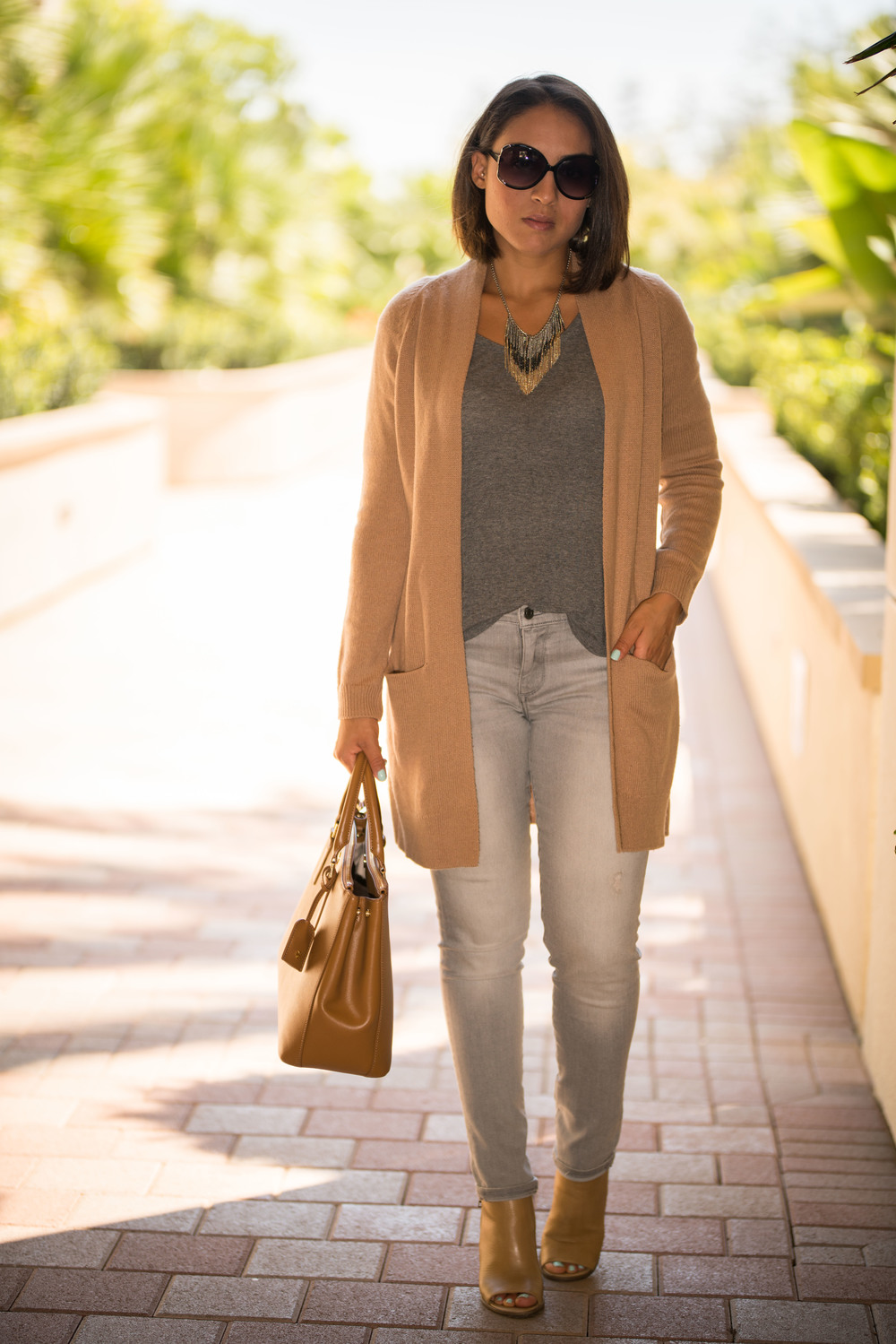 Cardigan:  Nordstrom  | Booties:  Steve Madden  | Denim:  Banana Republic  | Top:  Splendid  | Purse:  Tory Burch