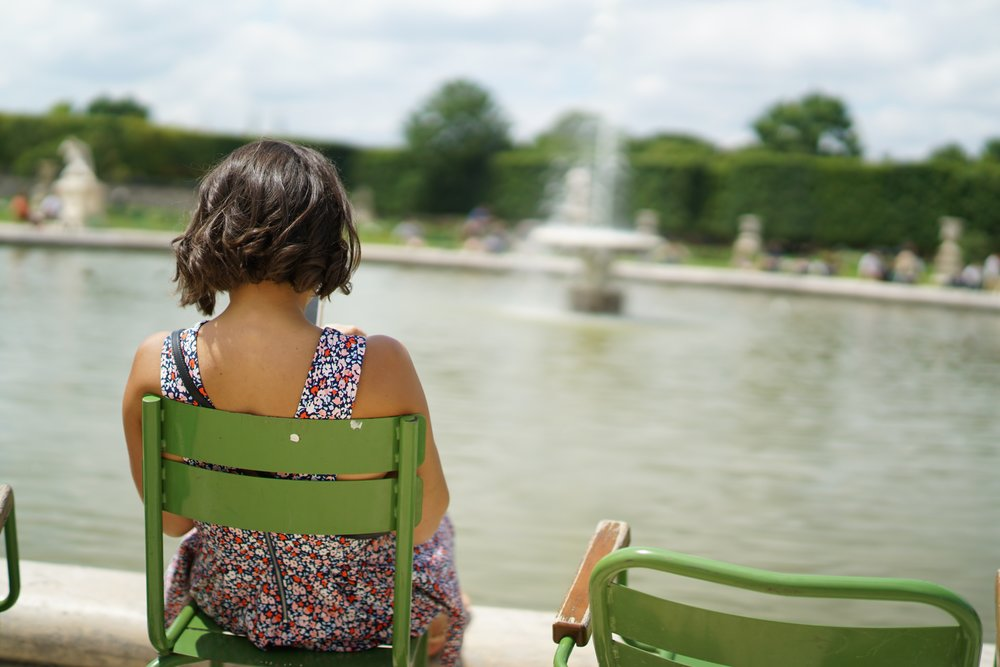 Sitting at a fountain in Jardin des Tuileries