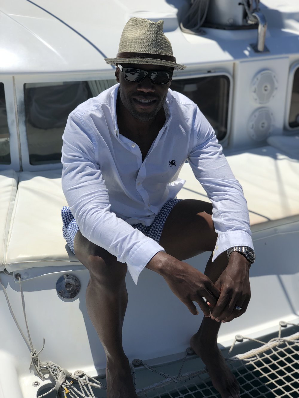 Swim : Ted Baker //  Hat : Ben Sherman //  Sunglasses : Maui Jim //  Shirt : Express
