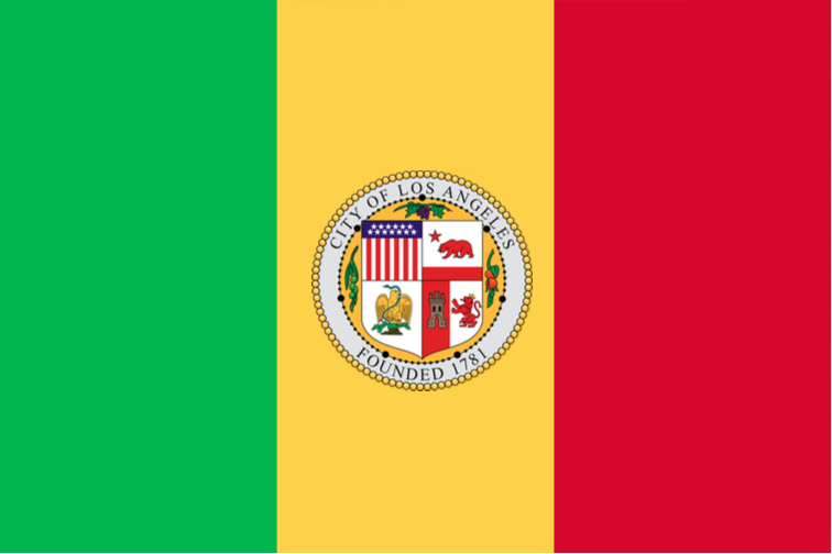 CLOSE! This is the national flag of Mali. In Africa. With the added LA seal just to throw ya off!