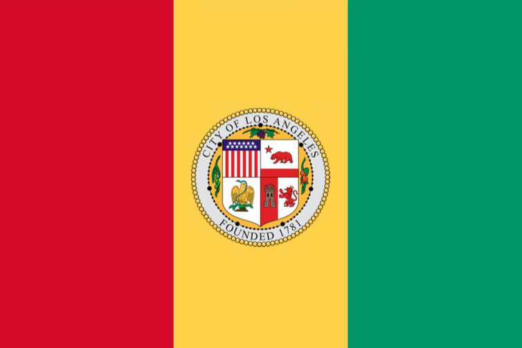 NOPE! This is what the flag of Guinea would like with the LA municipal seal in its center.
