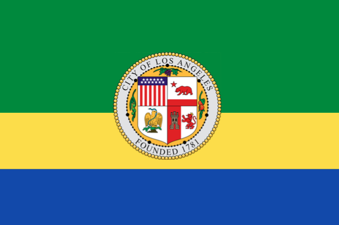 SORRY! This is the flag of Chocó, a department in western Columbia, with the LA seal slapped on top.