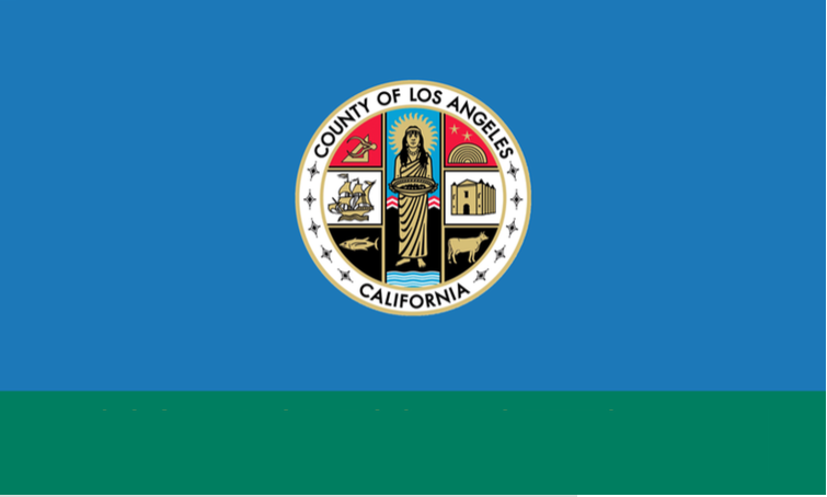 "NO! This is the flag of LA  County , not  city.  It normally reads ""Los Angeles County"" across the bottom green bar. (It, too, could benefit from a redesign!)"