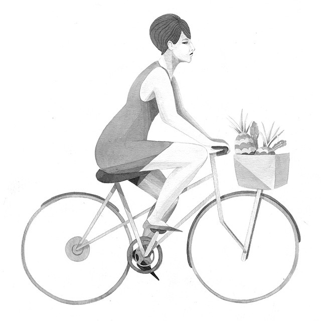 Barbra Streisand riding a bike. Oh my. #illustration #blackandwhite #ink #bike #barbrastreisand #streisand #pineapple