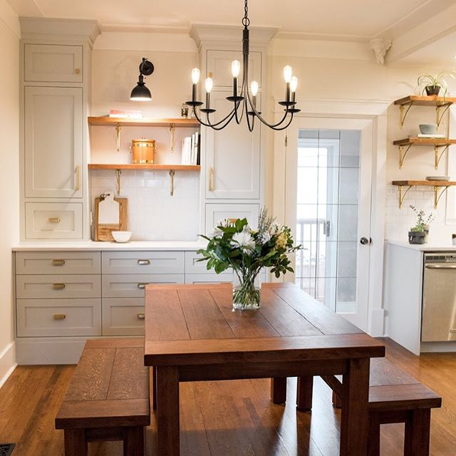 We gave this kitchen plenty more storage and a beautiful focal point by expanding into the dining area with full height custom built-ins (by Splinters Millwork and Alan O'Rourke) photo by @photosbyashlenenairn #yyjdesign #yyj #kitchenrenovation #beforeandafter