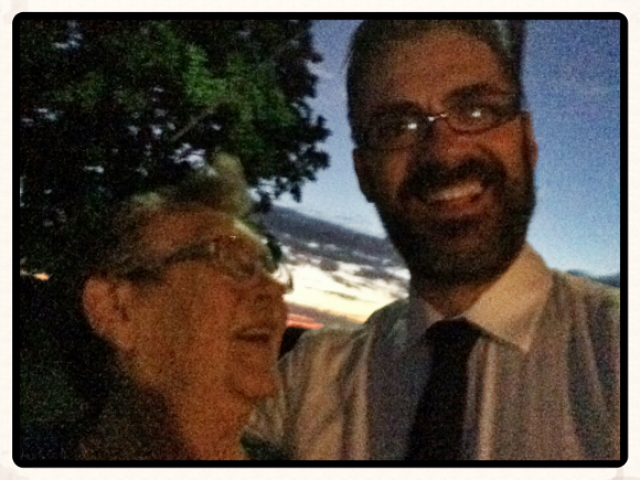 Selfie with mum in the dark Jan 2015 at her place.