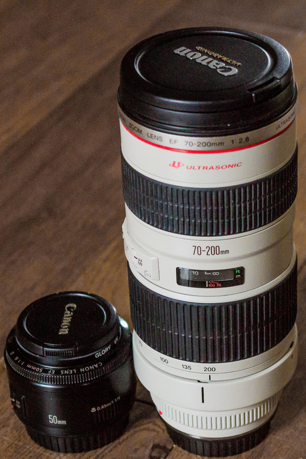 Here are two of the three lenses I carry in my kit bag - the third one being used to take this image!