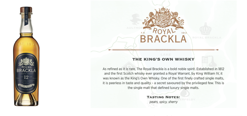 ROYAL BRACKLA 12- $99.95