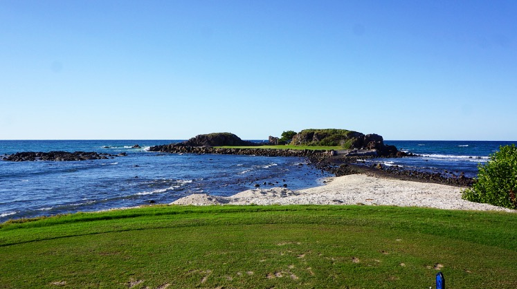 "The Pacífico, with eight holes directly facing or playing alongside the Pacific Ocean, features the ""Tail of the Whale"", an optional par-three hole with the largest natural island green in the world."