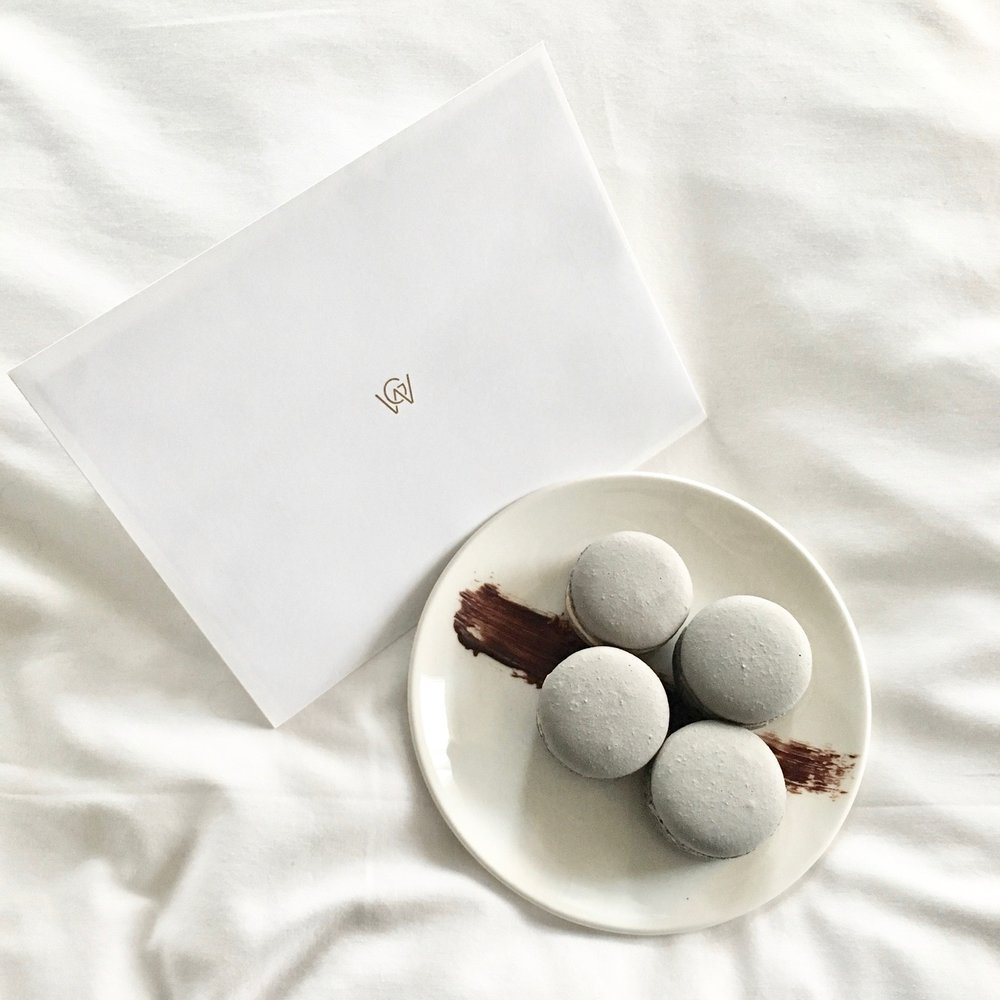 Hand Written Notes and Macaroons from the Concierge at Hotel William Gray