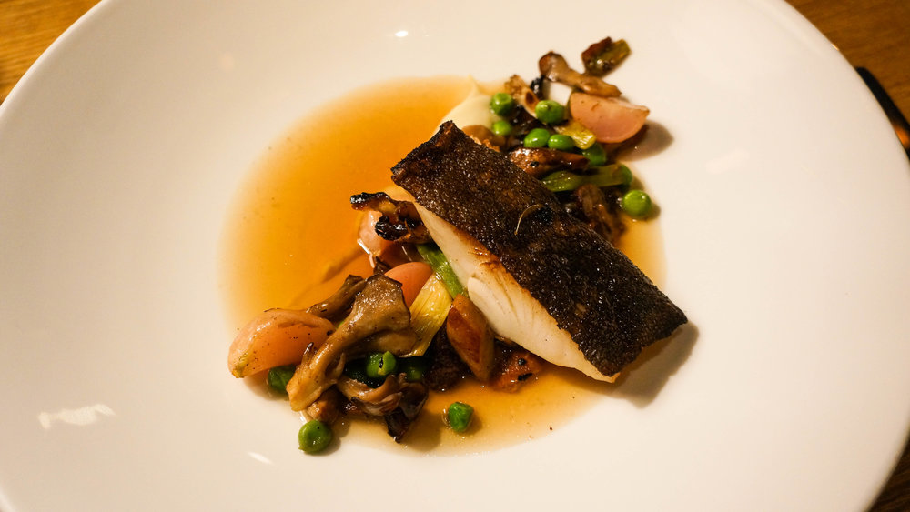 Samos and miso roasted black cod with turnips, porcini mushrooms and, mushroom flavored dashi