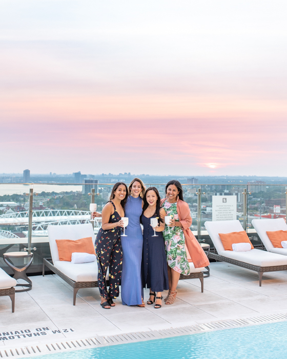 Sunset cocktails with the girls by the pool @ Hotel X Toronto