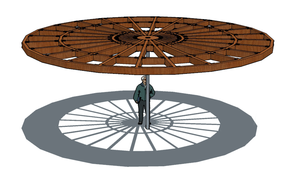 With the second iteration, I took away the hanging spokes and added more beams. With out me thinking, when I added sun and saw what the shadow created I was amazed. It is as if you are looking into the omega gardens as a perspective. My original design concept of wanting my shade structure to represent the omega gardens came to life with out even knowing it at first.