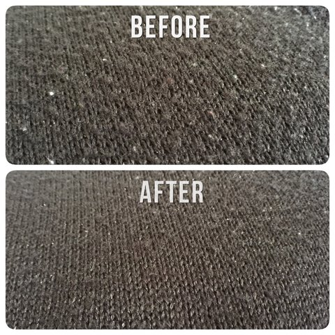 Before and after using a lint remover