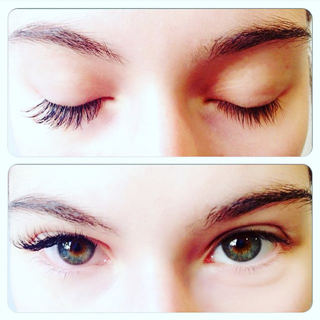 With and without, big difference! #sunspaflushing #eyelashextensions #nyc #beautycare