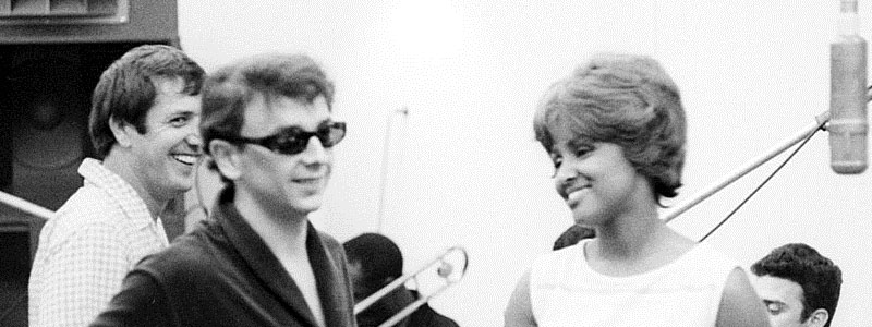 Sonny, Phil Spector and Darlene Love in Gold Star Studios in Los Angeles, 1963.