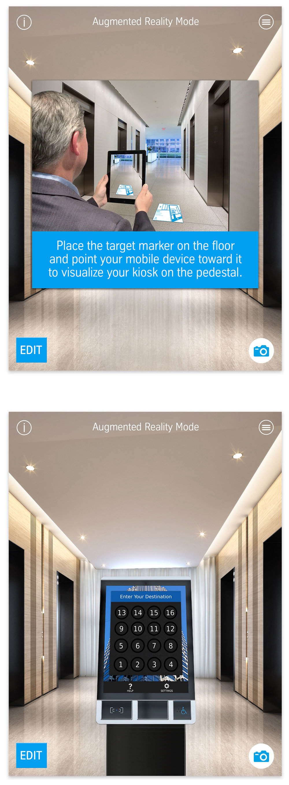Augmented reality app:  Apple  https://itunes.apple.com/us/app/agile-destination-controls/id1271952896?mt=8   Google Play  https://play.google.com/store/apps/details?id=com.thyssenkrupp.AGILEDestinationControls