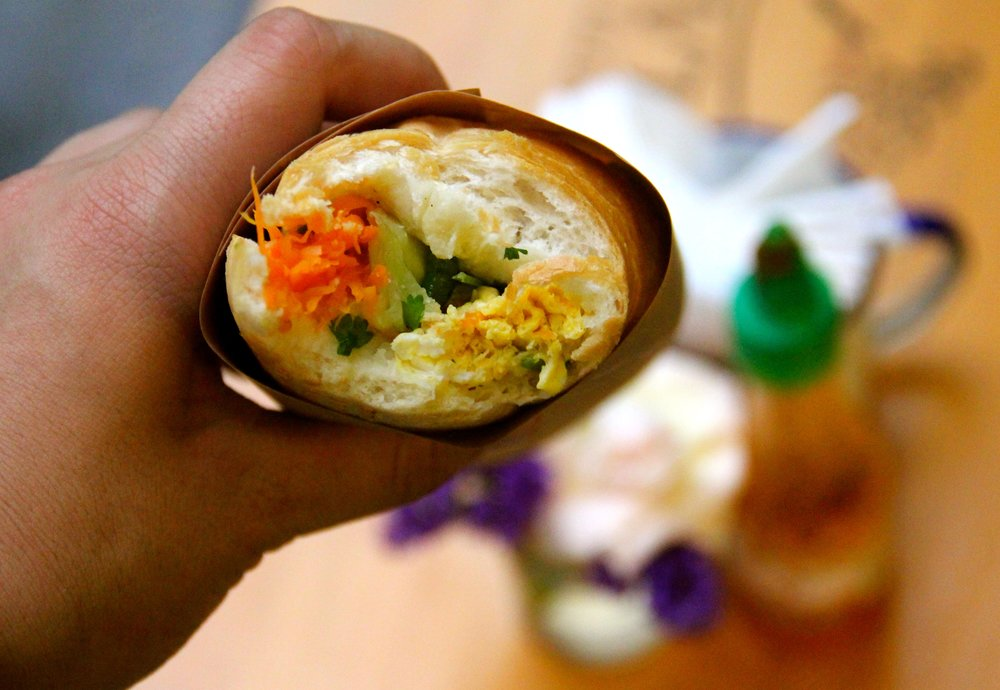 Egg and Cheese Banh Mi, Banh Mi 25, Hanoi, Vietnam