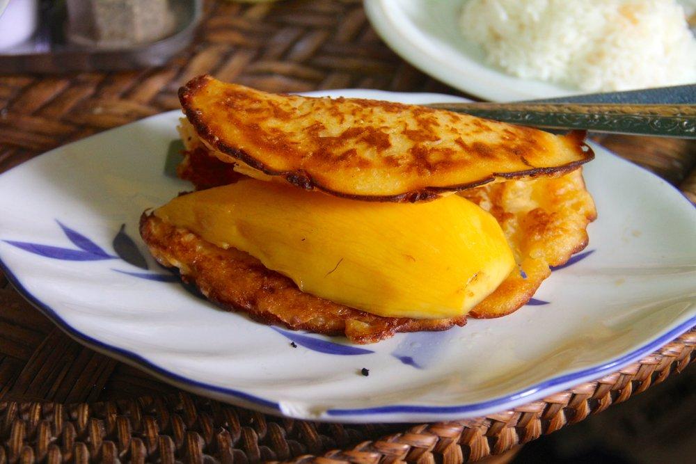 Mango Sticky Rice Pancake, Kung's Cafe, Vientiane, Laos