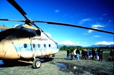 With few roads on Kamchatka, helicopters are the best way to travel.