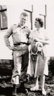"Duane ""Red"" Even and Grandma Appolonia Even after boot camp and before deployment"