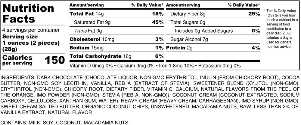 sugar free coconut macadamia bite nutritional label