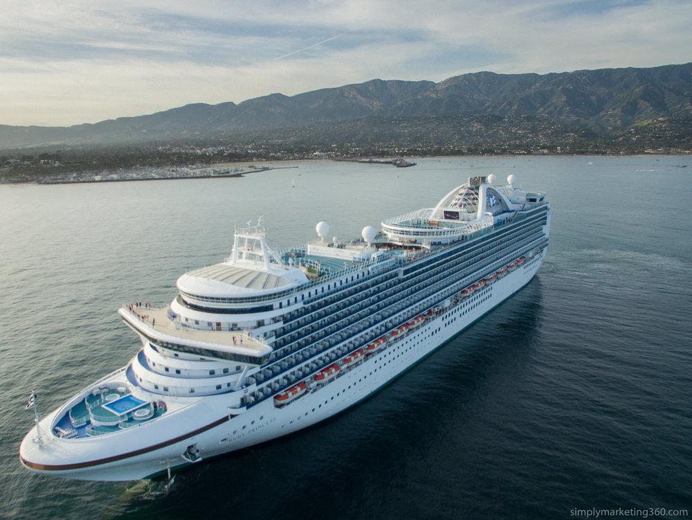 Drone shot with a DJI Phantom of a cruise ship pulling out of Santa Barbara in April 2017