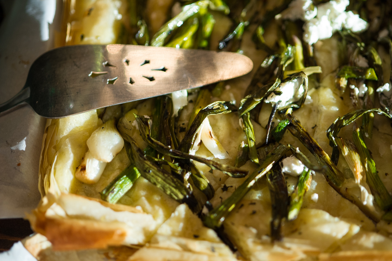 grilled asparagus and spring onion flatbread