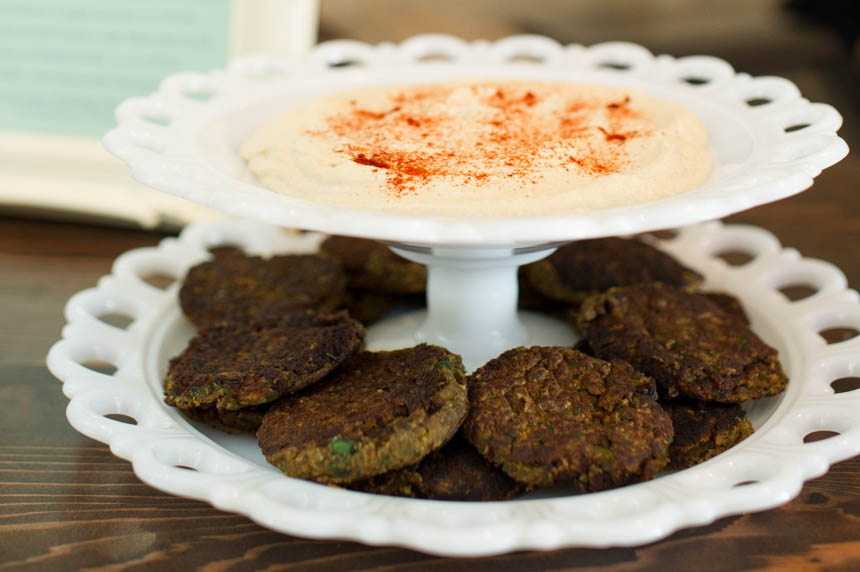 chamomile hummus with baked falafel
