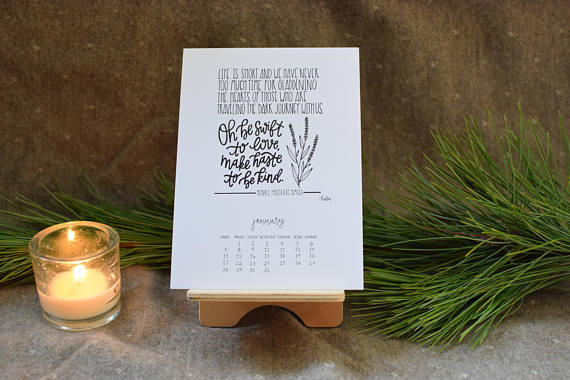Desk calendar from  Light and Pine