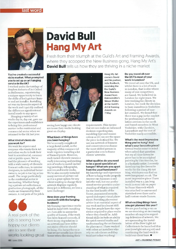 Our interview in the June issue of Art & Framing Today, the industry journal for the Fine Art Trade Guild.