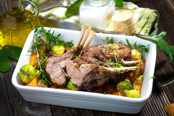 Grilled Lamb Cutlets With Roasted Veggies