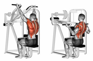 Underhand Grip Lat Pulldown Machine