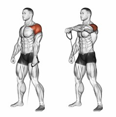 One Arm Cable Front Raises