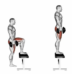 Dumbbell Lunge Step Ups