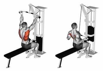 Wide Underhand Grip Lat Pull Down